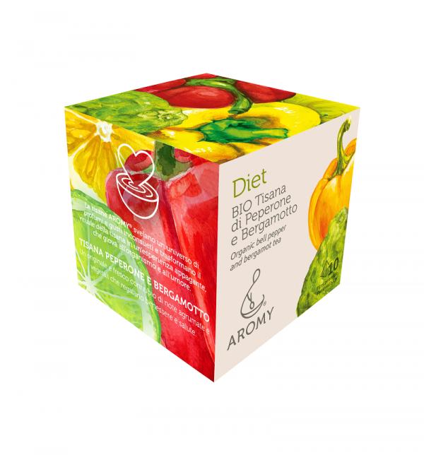 Tisana di peperone e bergamotto biologico DIET Aromy lato